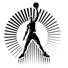 Basketball player. Vector illustration in the engraving style