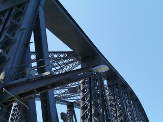 A close up of the Sydney harbor bridge in Australia