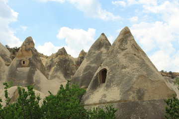 caves in spectalar rocks, Cappadocia, Turkey