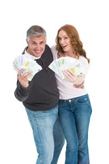 Casual couple showing their cash