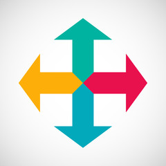 Four colored arrows with text on gray background