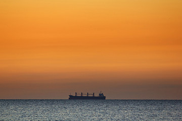Lonely ship on a horizon