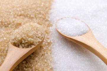 White and brown sugar