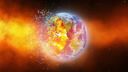 Earth burning, apocalypse asteroid impact globe
