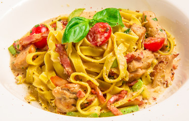 Pasta Con Sugo with rabbit sauce, parmesan cheese, bacon,