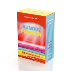 3D Laundry Powder paper box isolated on white