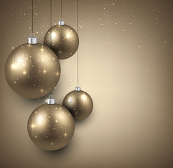 Background with golden christmas balls.
