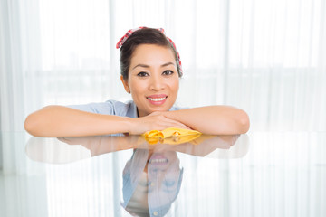 Happy Vietnamese housewife