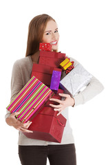 Woman holding full of presents
