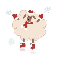 Sheep santa on skates, symbol of new year 2015