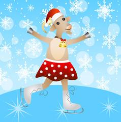 merry goat in a skirt on skates