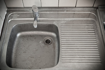 dirty metal sink