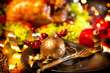 Christmas table setting with turkey. Holiday Christmas dinner