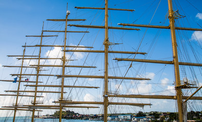 Five Masts Against Blue Sky