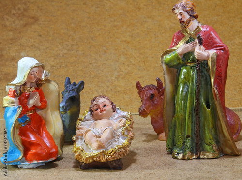 Nativity scene with baby jesus Mother Mary and joseph