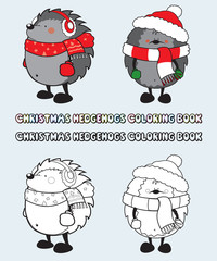 set of 2 Christmas hedgehogs coloring book illustration