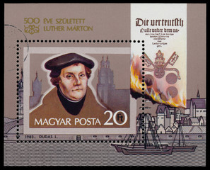 Stamp printed in Hungary shows Martin Luther