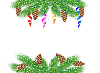 christmas background with green branches, cones and serpentine