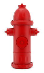 red hydrant isolated on white background