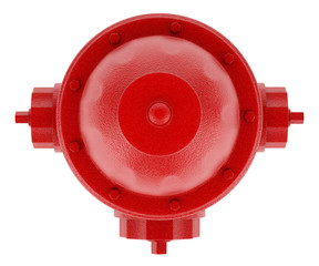 top view of red hydrant isolated on white background