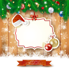 Christmas background with label, hat and baubles
