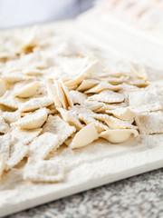 Flour Sprinkled On Raw Ravioli Pasta