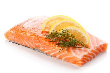 Fresh raw salmon steak on white background