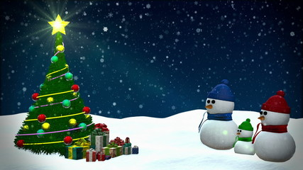 Snowmen at winter snowfall background