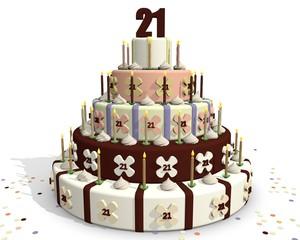 Chocolade jubileum taart, 21 jaar