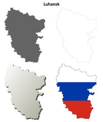 Luhansk blank outline map set - Russian version