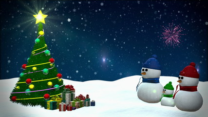 Snowmen at winter snowfall background with fireworks
