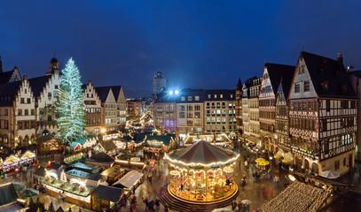 Weihnachtsmarkt Frankfurt Römer Panorama