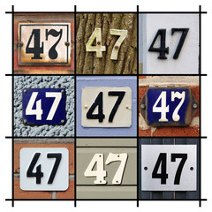 Collage of House Numbers Forty-seven