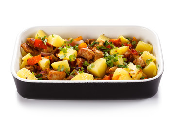 Roast meat with boiled potatoes and vegetables