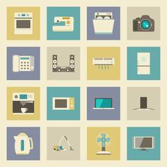 Electrical appliances flat icons set