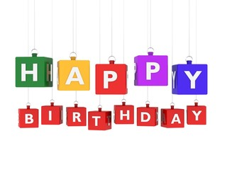 Happy birthday on colored hanging cubes