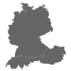 Deutschland, Österreich und Schweiz in grau