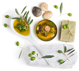 Top view of spa accessories and olives