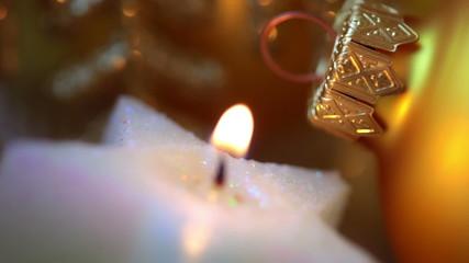 Xmas Ball and Candle. Macro. Seamless Loop