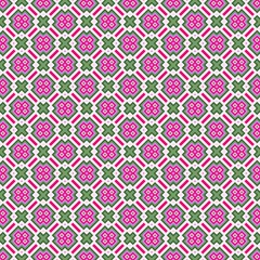 Seamless retro purple square pattern with green crosses.