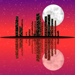 City skyline at night with moon and with reflection.