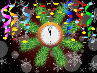 christmas postal with a clock, serpentine and confetti