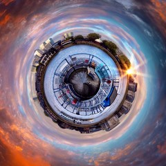 Awesome London city circular landscape view