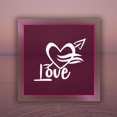 Love frame with water background