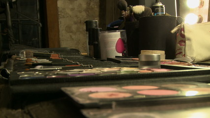Preparing for wedding - make-up artist at work