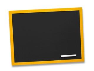 Schwarze Tafel aus Holz mit Kreidestück