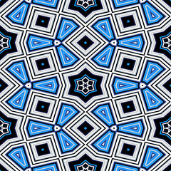 Seamless geometric pattern with stars in blue