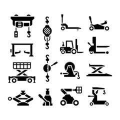 Set icons of lifting equipment