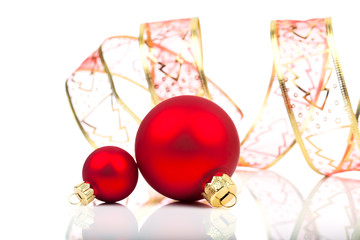 christmas balls with ribbon, isolated on white background with c