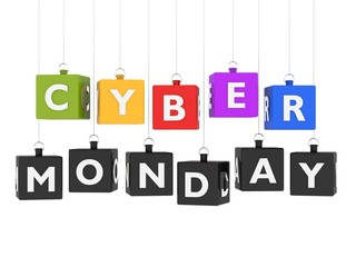 Cyber Monday - cubes hanging on white background